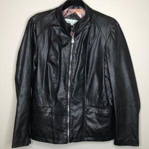 CLEO Petites black lined vegan leather jacket L